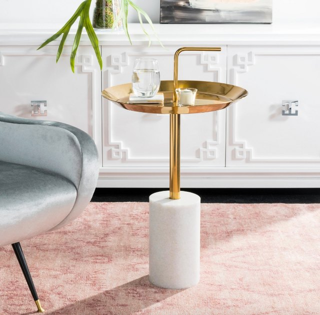 brass and stone side table
