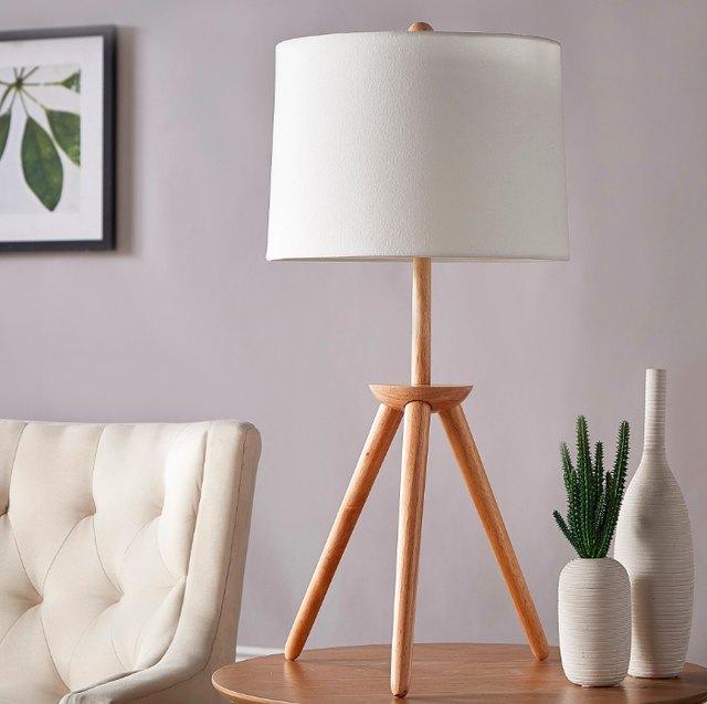 midcentury wood tripod lamp