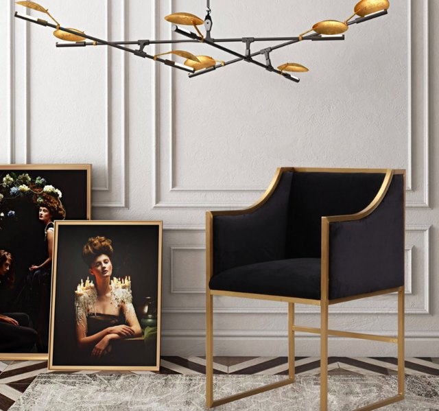 black velvet and brass chair