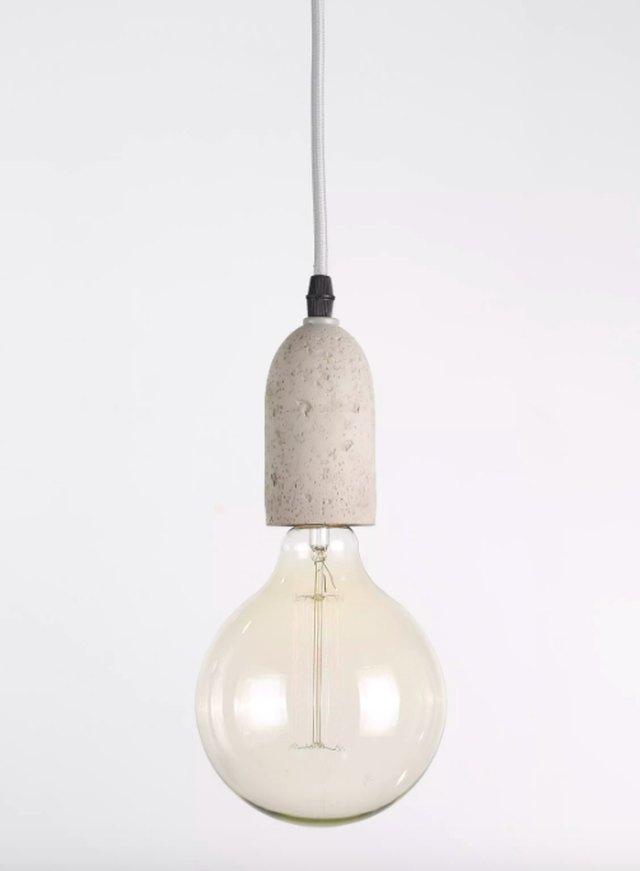 concrete pendant light with bare bulb