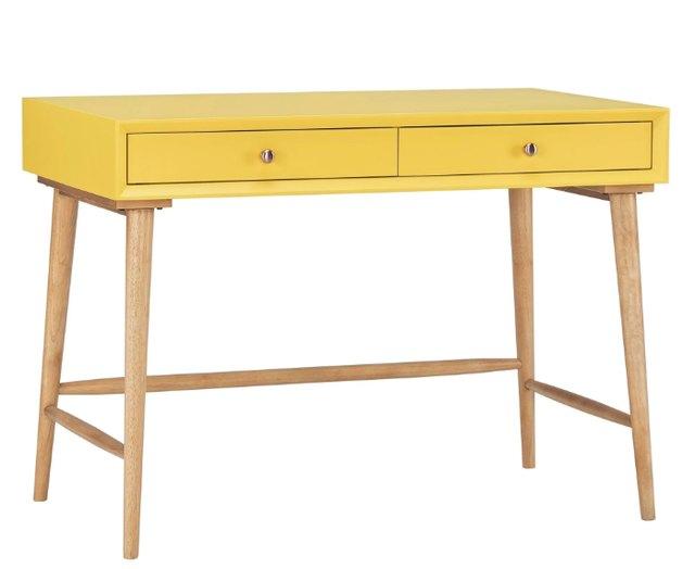 danish inspired yellow and wood desk