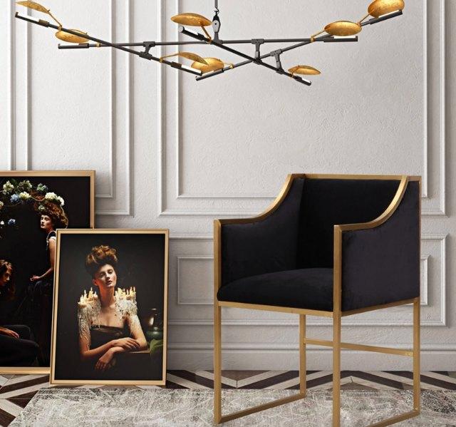 brass and black velvet chair