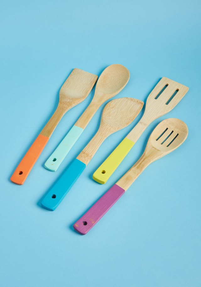 Colorful bamboo utensils