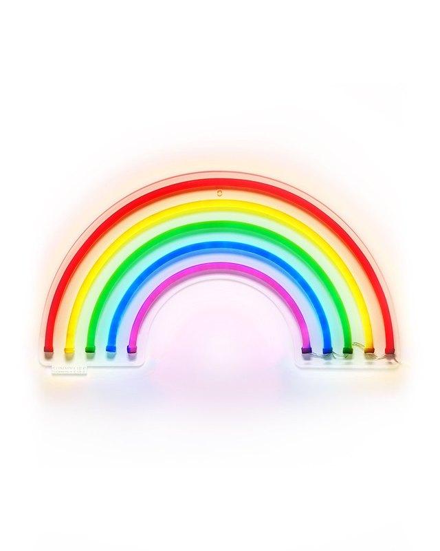 Neon rainbow wall sign