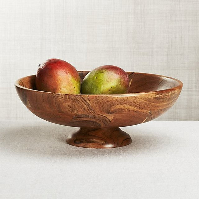 Wooden footed fruit bowl