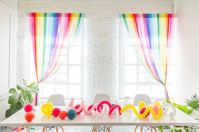 Streamer curtains over a window