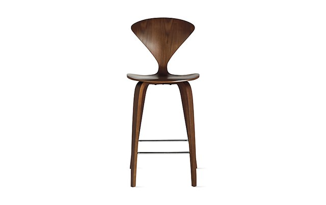 Wooden Cherner stool, armless, in walnut finish