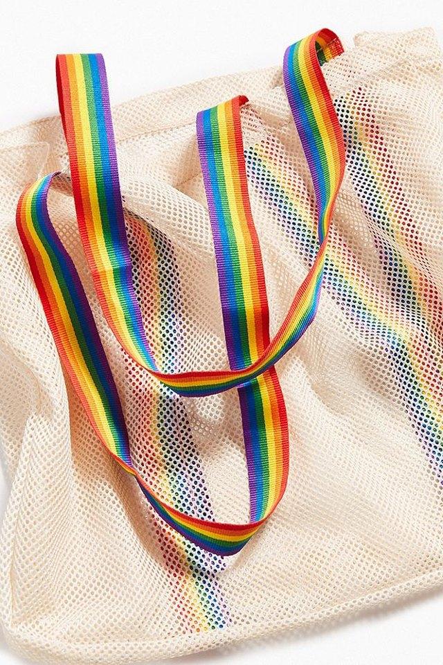 Rainbow straps on mesh tote bag
