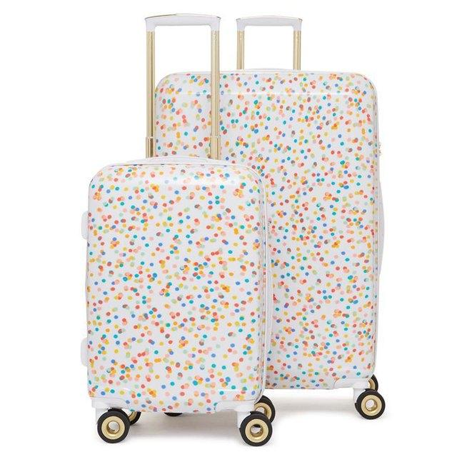 rainbow speckled luggage