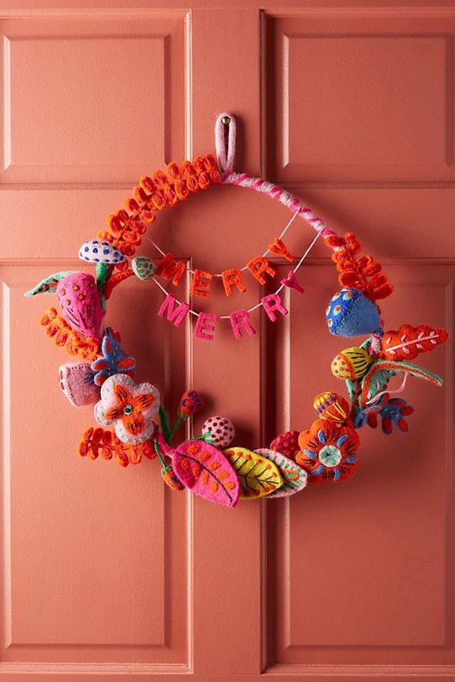 holiday wreath on a door