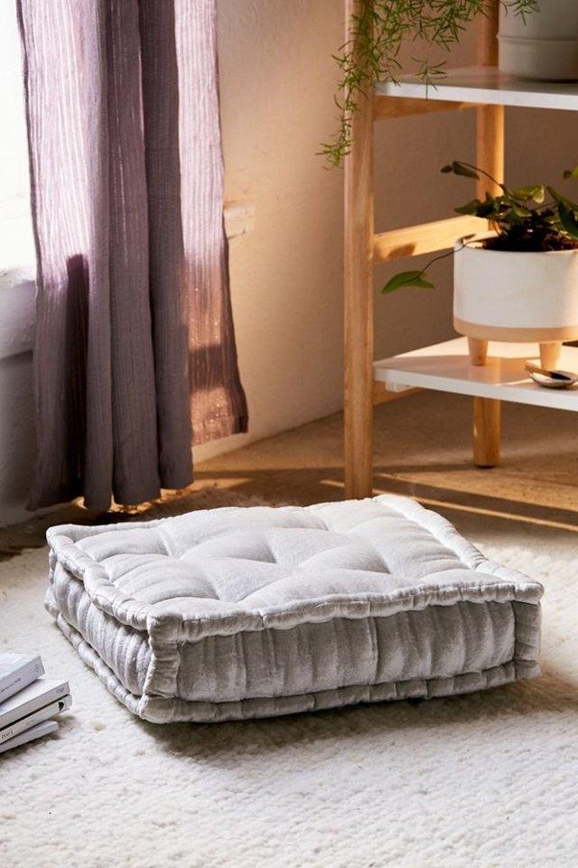velvet tufted floor pillows