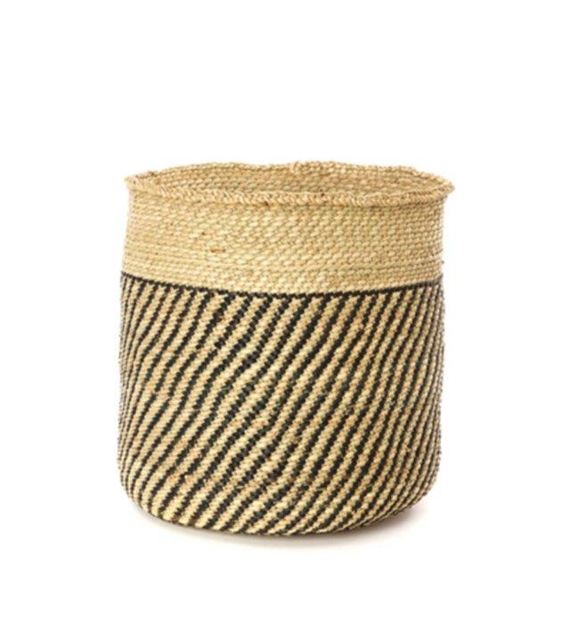 Woven planter basket with black diagonally striped detail