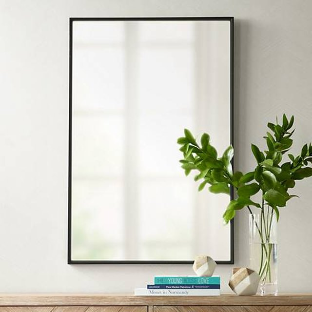 Rectangular wall mirror with thin black border