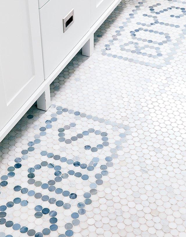 mosaic penny tile in kids bathroom
