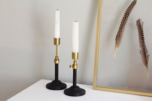 Target Decor: Two black and gold adjustable candlesticks