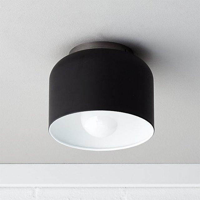 Flush mount matte black bell ceiling light