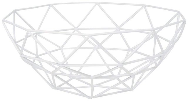 White geometric wire fruit basket