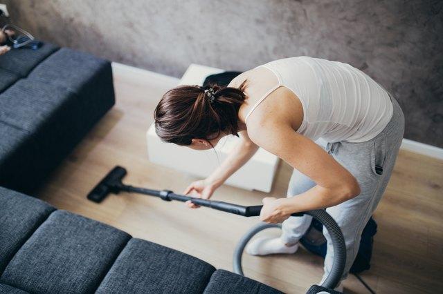 Girl doing house work