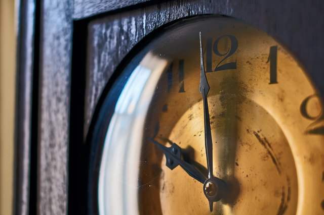 Vintage grandfather clock clockface