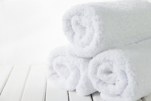 White fluffy bath towels