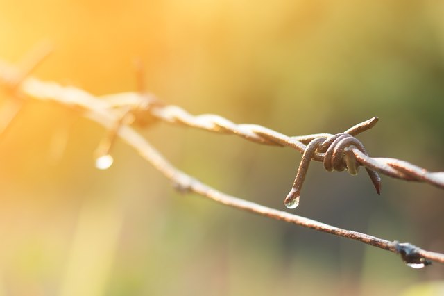 Close up of water drop on dirty barbed wire.