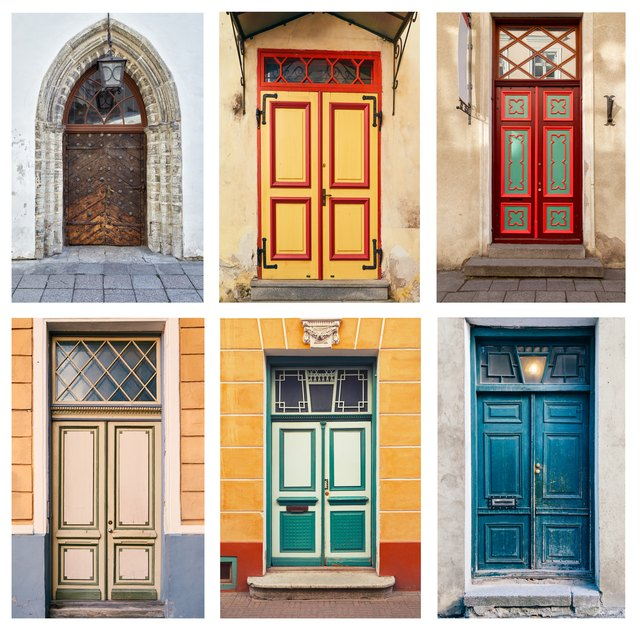Collage of ornamental doors exterior