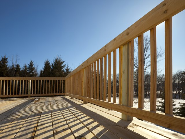 New Pine Wood Lumber Patio Deck Surface, Railing, Shadow, Project