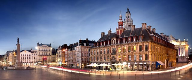 Belfry and building on main square of Lille - France