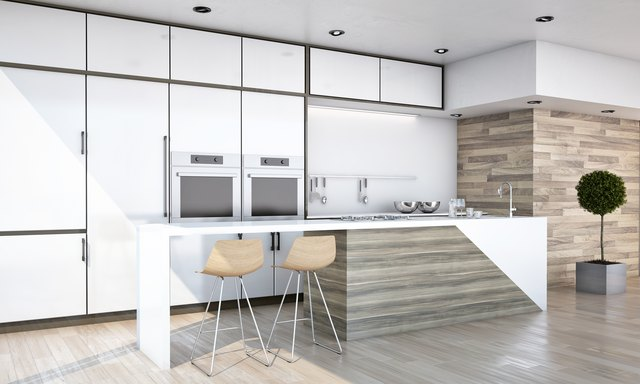 White and Wood Colors Kitchen