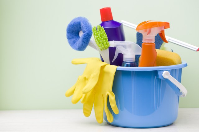 Bathroom cleaning products in bucket