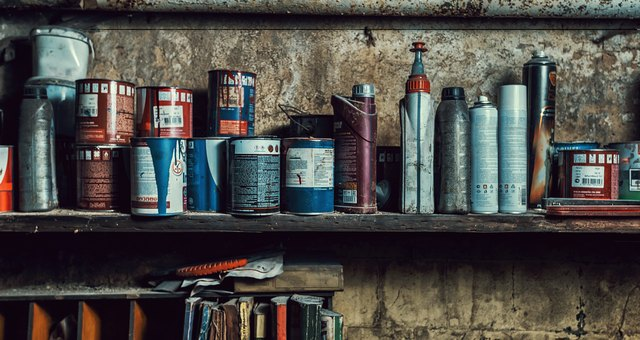 paint cans on the shelves