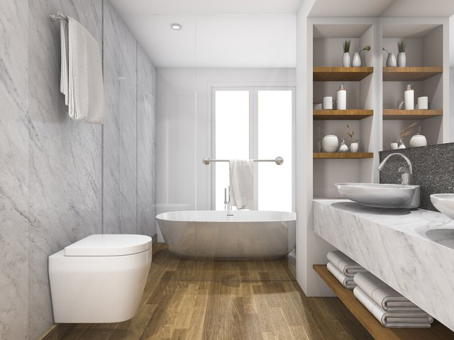 3d rendering wood and marble bathroom with built in