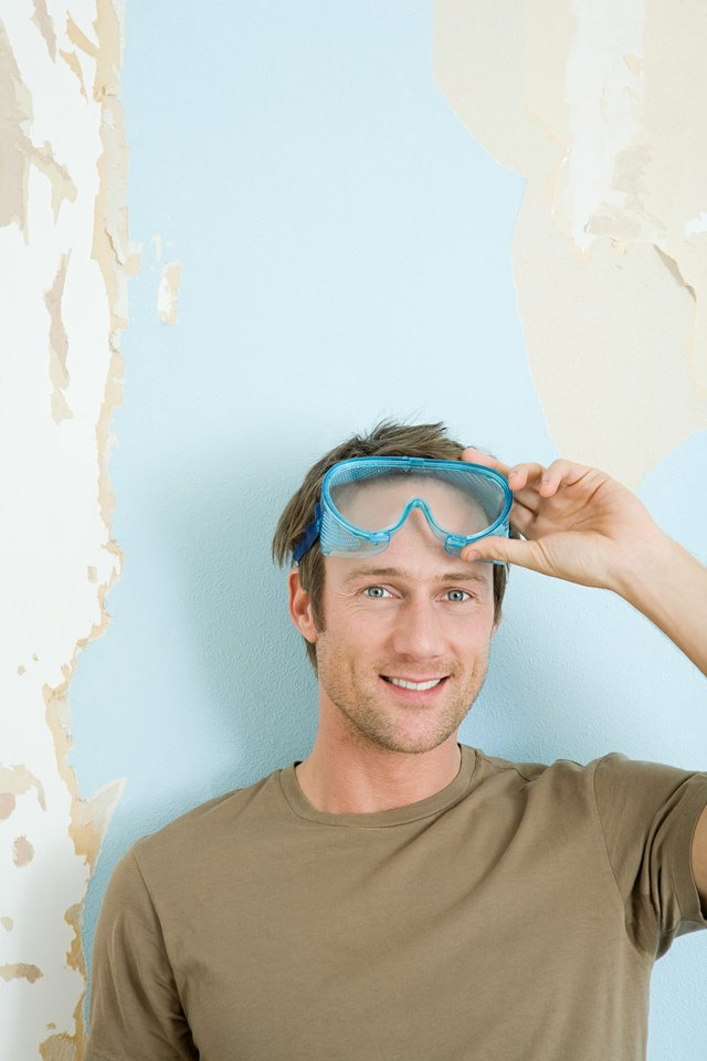 Man wearing safety goggles.