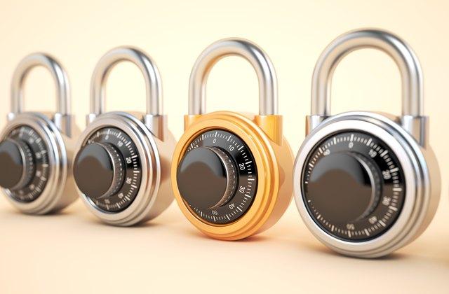 Orange combination lock with silver padlocks