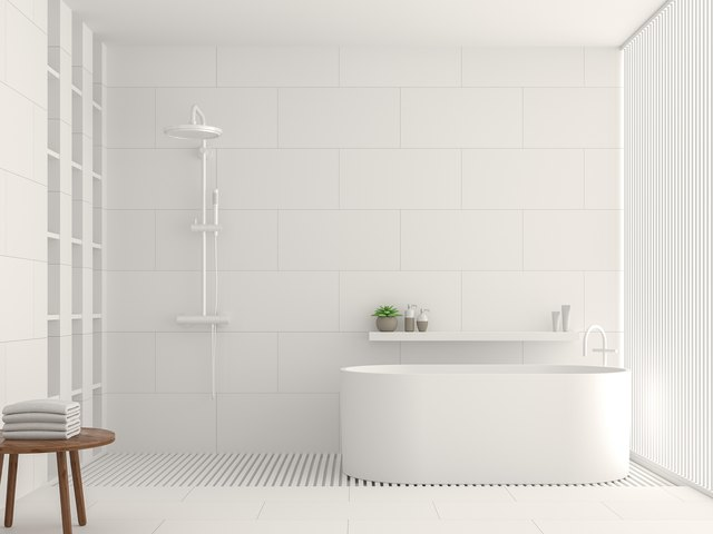 Modern White Bathroom Interior 3d Rendering Image