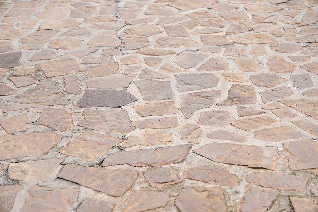 Granite gray flagstone pavement wall background