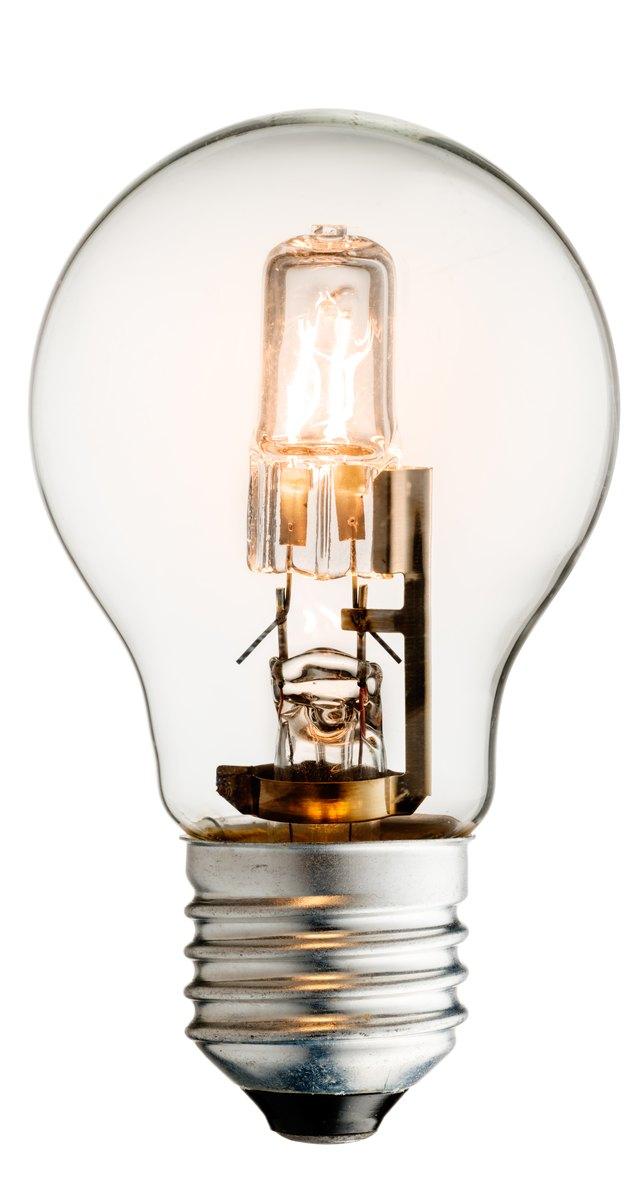 Glowing halogen light bulb