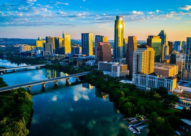 Austin Texas Sunrise Golden Hour Skyline Cityscape Perfect Morning