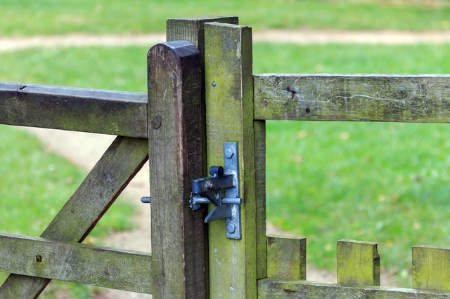 Metal gate latch fitted to wooden gate and post