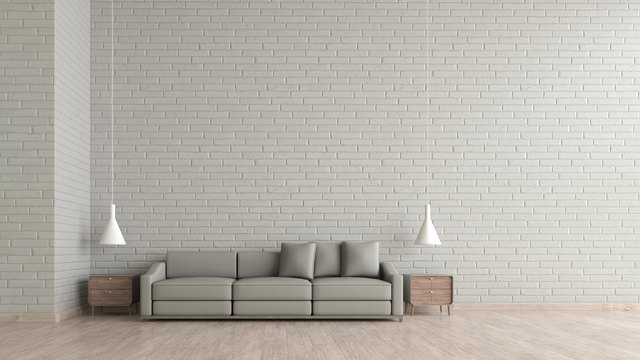 Superieur Modern Interior Living Room Wood Floor White Brick Texture Wall With Gray  Sofa Template For Mock