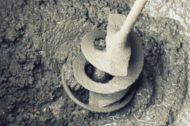 concrete mixing with electrical drill and mixer
