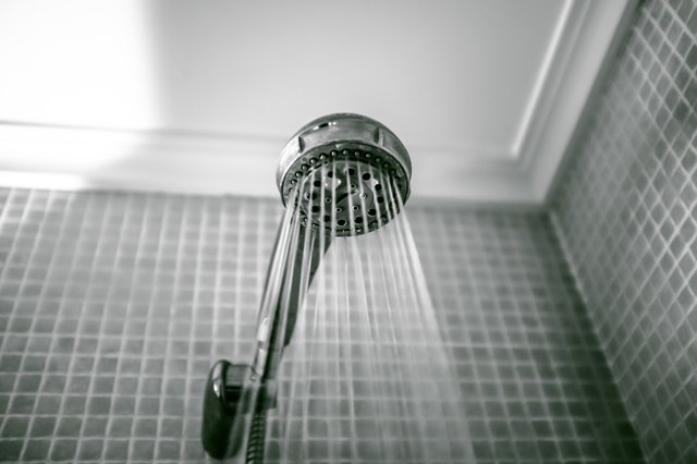 Low Angle View Of Shower Spraying Water