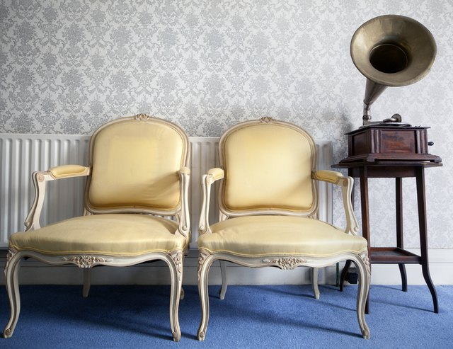 two yellow silk chairs and a gramophone - How To Identify Antique Chair Styles Hunker