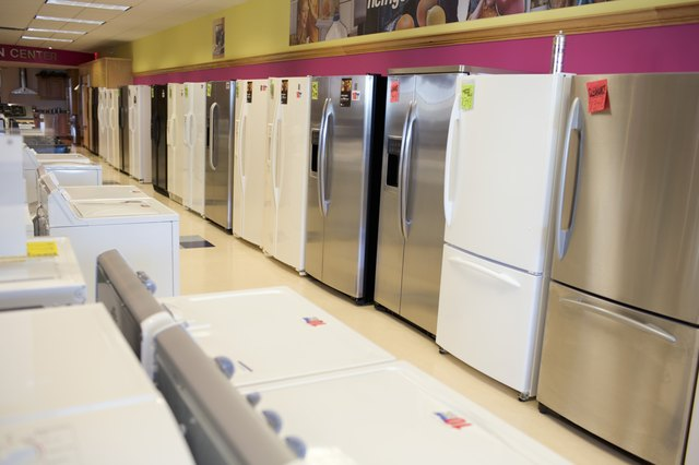 Refrigerators and appliances in stores