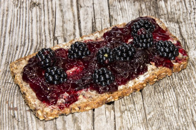 Bread with Blackberry Jam and fruits