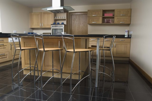 Barstools around kitchen island