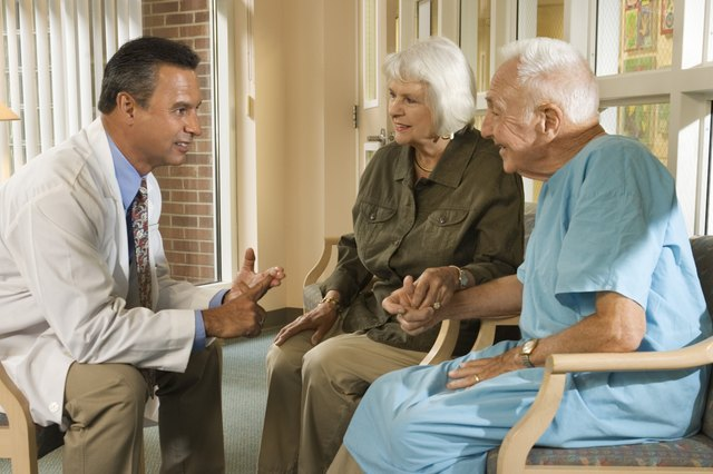 Doctor talking with elderly couple