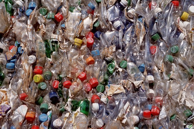Compacted plastic bottles for recycling