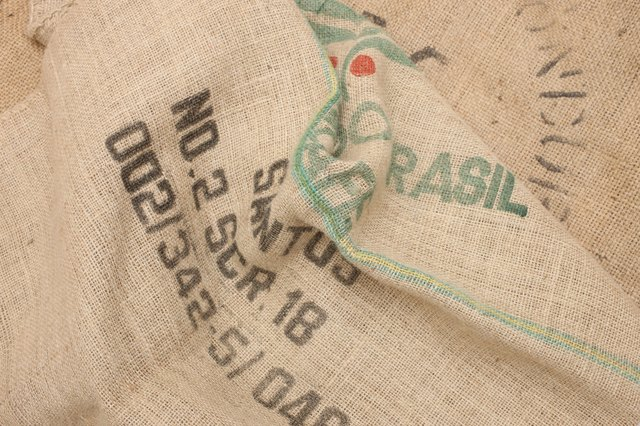 Brown hessian sack with stencil writing