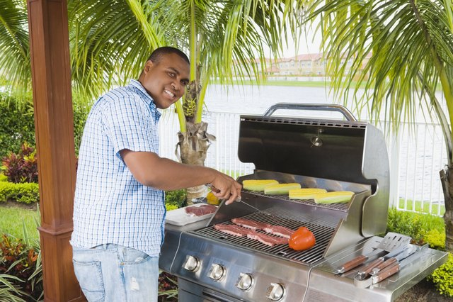 African man barbecuing